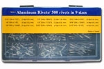 Aluminum Rivets/ 500 rivets in 9 sizes